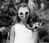 girl with gas mask