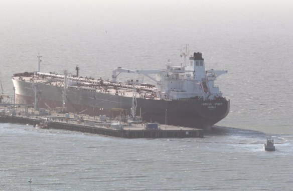 Oil spill containment booms oil tanker Yamuna Spirit Phillips 66 Refinery Rodeo